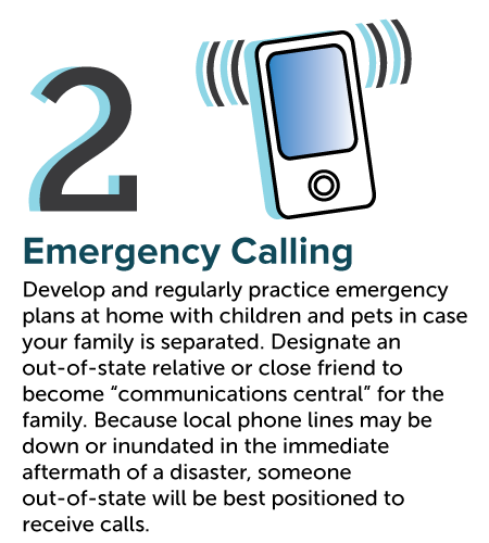 "Develop and regularly practice emergency plans at home with children and pets in case your family is separated. Designate an out-of-state relative or close friend to become ""communications central"" for the family. Because local phone lines may be down or inundated in the immediate aftermath of a disaster, someone out-of-state will be best positioned to receive calls. Displaced family members with access to a phone could call the out-of-state contact – typically without issue – to share and receive messages from other family members."